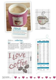 I love coffee Free Cross Stitch Charts, Cross Stitch Bookmarks, Mini Cross Stitch, Cross Stitch Boards, Cross Stitch Needles, Cross Stitch Designs, Cross Stitch Patterns, Cross Stitching, Cross Stitch Embroidery