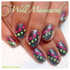 The Polka Dot manicure is all the rage this summer! Gel colors used: Base- Midnight Caller, Dots- Pacific Sunset, Lime All the Time & Rub Me the Sarong Way from @gelish_official. #wellmanicured #gelish #colorsofparadise #polkadots #manicure #manhattanbeach #hermosabeach #allisonbythebeach #gel #gelnail #naildesigns #nailart #nailartist #cute #fun #intheheartofthesouthbay #nails #nailstylist