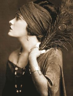 Art Print on SILK - Lovely Flapper in profile holding Peacock Feather - Sepia Tones - Embellish Embroider Collage Fiber Arts. $5.99, via Etsy.