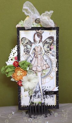 Prima Mixed Media Doll Stamps..Strapless and Swing using Prima Lyric Collection.