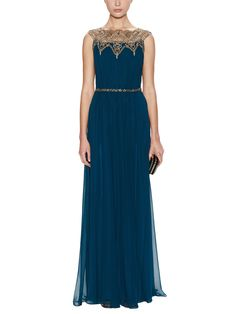 Silk Chiffon Gown with Beaded Yoke from Notte by Marchesa on Gilt