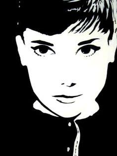 audrey hepburn Abstract Portrait Painting, Sketch Painting, Audrey Hepburn Illustration, Airbrush, Stencil Art, Stencils, Silhouette Art, Face Art, Cartoon Art