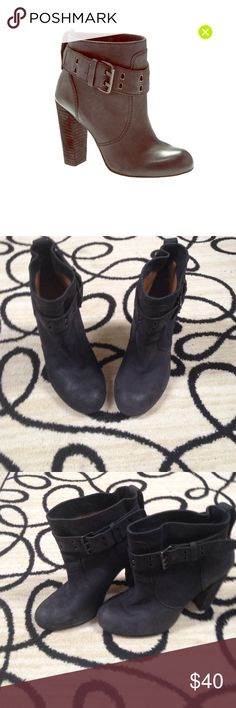 Edgy ankle boots! No 704b Erin Black I love these boots! The color goes with everything. A mix of grey and black. You can tighten or loosen the top with buckles. Rounded toe. Real leather and suede. They have been pre loved. But still in good condition:)Awesome with dresses and jeans!!    Heel height 4 inches . Open to offers! no 704b Shoes Ankle Boots & Booties