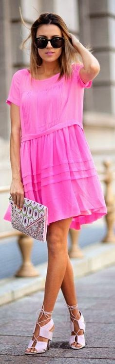Gorgeous pink summer relaxed fit beach spell dress. hand over those shoes please