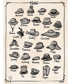 Any day is a good day for a hat day! In animation, hats is a great accessories t… Any day is a good day for a hat day! In animation, hats is a great accessories to add for crowd variation. We usually pick a few shape then… Fashion Design Drawings, Fashion Sketches, Drawing Fashion, Drawing Tips, Drawing Reference, Drawing Art, Pose Reference, Fashion Infographic, Fashion Terms