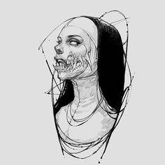 Trippy Drawings, Dark Drawings, Tattoo Design Drawings, Valkyrie Tattoo, Demon Tattoo, Samurai Tattoo, Arte Van Gogh, Mermaid Art, Mermaid Paintings