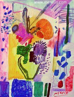 "Flores  Jose Manuel Merello.- ""Happy flowers"" Mix Media  Contemporary Still Lifes http://www.merello.com"