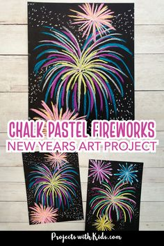 Make this brightly colored chalk pastel fireworks art for a fun and easy art project kids will love! Perfect for New Years.