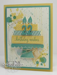 Stampin' Up!'s Build a Birthday stamp set is perfect for any age. LOVE the color combo of So Saffron and Lost Lagoon. The Little Numbers Framelits make the perfect birthday candles. Created by Lori Mueller