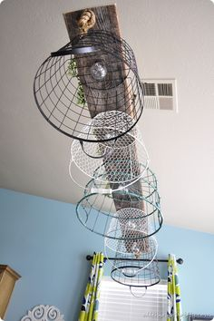 hanging-wire-basket-chandelier {All Things Thrifty}
