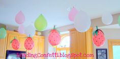 I am so going to do this for Lexxi's party. except i think it would look a lil better if they turned the balloons the other way so the fat end is at the top. this is soo cute! ;)