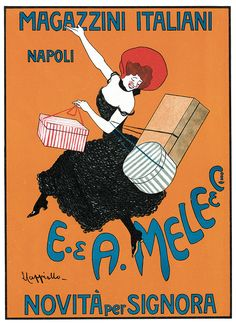 Shop Leonetto Cappiello Magazzini Italiani Poster created by Art_Nouveau_Gifts. Personalize it with photos & text or purchase as is! Vintage French Posters, Vintage Italian, French Vintage, Vintage Art, Retro Art, Vintage Travel, Vintage Items, Art Nouveau, Custom Posters