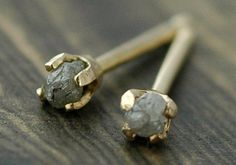 Small Rough Silver Diamonds in 14k Yellow Gold by Specimental, $90.00
