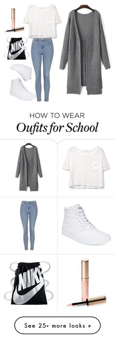 Normal School Day by amyahkelly on Polyvore featuring MANGO, Topshop, Vans, NIKE and By Terry