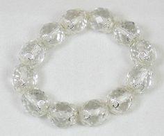 Glass Bead Bracelet Silver Scroll Bead Caps Clear by VioletJewelry, $15.00