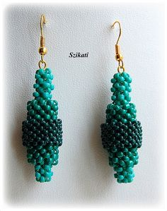 Green Dangle Seed Bead Earrings Original Beadwork by Szikati