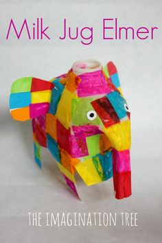 Milk Jug Elmer Elephant Craft for Kids! #preschool #kidscraft #animalcraft