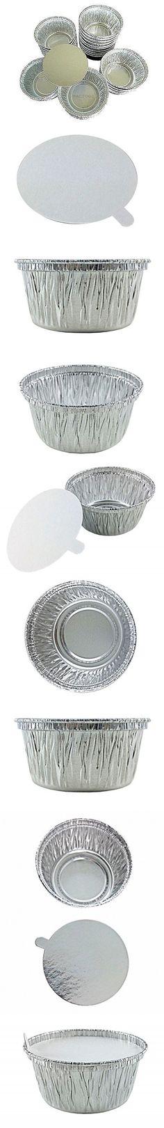 Handi-Foil of America 4 oz. Aluminum Foil C w/Board Lid -Disposable Ramekin/Cupcake/Tart Containers (pack of 50)