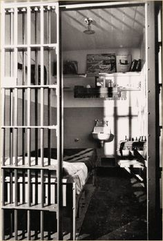 A typical cell at Alcatraz in March 1956. This is the cell of one of several prisoners permitted to pursue oil painting.            All Rights Reserved  Ocean View Publishing Company