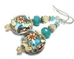 Lampwork Earrings Ocean Themed Lampwork Beads SRA by SeeMyJewelry, $28.00