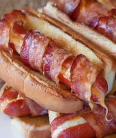 Bacon-wrapped cheese dogs. If this won't win a man's heart, I don't know what will. – perfect for this football season! #food
