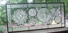 stained glass using vintage glass plates