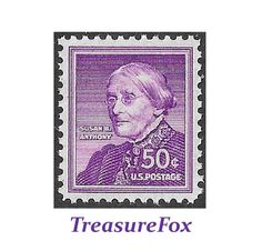 Pack of 5 stamps .. 50c SUSAN B. ANTHONY stamp issued 1955 .. Vintage Unused US Postage Stamp | Women's Rights, Voting Rights, Feminism by TreasureFox on Etsy