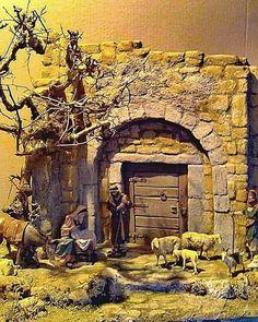 Portal, Nativity Stable, Christmas Nativity Scene, Belem, Holy Family, Cribs, Miniatures, Models, Painting
