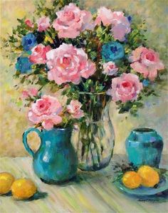 """Daily Paintworks - """"Pink Roses and Jade"""" - Original Fine Art for Sale - © Nancy F. Rose Paintings, Fine Art Gallery, Art For Sale, Pink Roses, Art Boards, Jade, Whimsical, Vibrant, My Arts"""