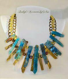 Aqua Cuarzs Necklace by G.Lou. Designer: A&F