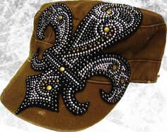 Green. Silver. Gold. black Studded. Military Hat. Accessories