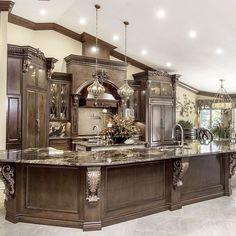 45 Stunning Modern Dream Kitchen Design Ideas And Decor Luxury Kitchen Design, Best Kitchen Designs, Home Interior Design, Kitchen Ideas, Design Interiors, Huge Kitchen, Kitchen Photos, Kitchen Layout, Kitchen Decor