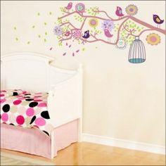adesivo parede galho pássaros infantil colorido quarto criança