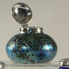 English Studio Glass Inkwell, exclusive to The Hardwicke Collection, with a sterling silver, hinged top.