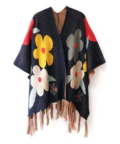 Look what I found on #zulily! Navy Floral Fringe Ruana by Do Everything In Love #zulilyfinds