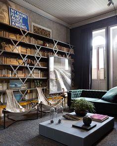 Moder living room design #eclectic #modern #bookshelf  #metal