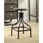 Locker 19.7 in. Black Swivel Bar Stool, Black & Oak