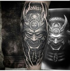 Japanese Warrior Tattoo, Japanese Fish Tattoo, Japanese Tattoos For Men, Japanese Tattoo Designs, Tattoo Designs Men, Hannya Mask Tattoo, Armor Tattoo, Samurai Tattoo, Black Sleeve Tattoo