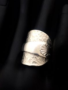 Here You have Another Exquisite Hammered Sterling Silver Spoon Ring, Hallmarked Sheffield 1932 - Initial P- by Northern Goldsmiths, Newcastle Upon Tyne. Your Ring Has Been Crafted from a Beautiful Art Nouveau Shell Teaspoon. The Scallop Shell has been etched on the Handle that has been lovingly curled around the Hammered Sterling Silver Spoon Bowl to Create Your Ring. This Delicate piece has been polished and created with love and care. However, I have not polished it within an inch of its…