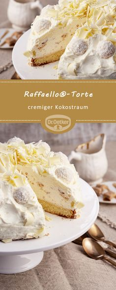 Raffaello® cake: A creamy cake with Raffaello® and coconut liqueur … – Geburtstagskuchen-Rezepte – desserts Ice Cream Recipes, Pie Recipes, Dessert Recipes, Torte Cake, Easy Smoothie Recipes, Cinnamon Cream Cheeses, Pumpkin Spice Cupcakes, Food Cakes, Desert Recipes