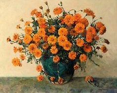 Frans Oerder - Stil life with African Marigolds. Spanish Painters, Dutch Painters, Italian Painters, Marsh Marigold, French Impressionist Painters, Still Life Flowers, Painting Still Life, Painting Gallery, Zinnias