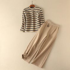 TownTiger.Store, best online fashion outlets  http://www.towntiger.store/products/bee-beige-striped-long-sleeve-sweatshirt-tops-and-wide-leg-pants-2-piece-set-women-burberry?utm_campaign=social_autopilot&utm_source=pin&utm_medium=pin
