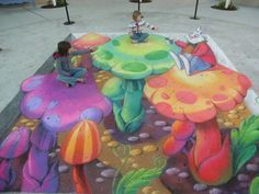 3d interactive street painting by world renowned 3d chalk artist, Tracy Lee Stum, at the Emerald Coast Street Painting Festival, 2008.