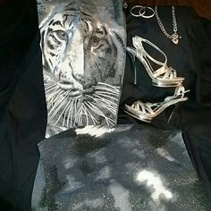 Pants with matching halter top Grey, black and white pants with matching halter top, top has side zipper  (stitching unraveled) strapless,  pants has a back zipper both has silvery shimmers throughout new never worn Pants