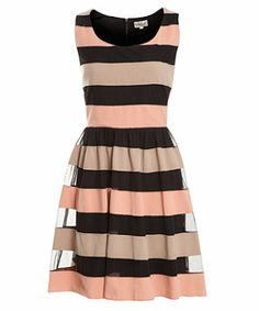 Black (Black) Deby Debo Black Multi Stripe Dress | 260602901 | New Look