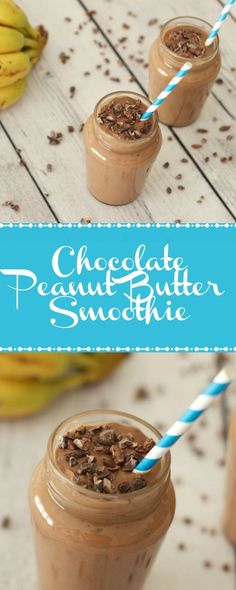 Chocolate Peanut Butter Smoothie! Vegan, gluten-free, healthy and perfect for breakfast! Vegan | Vegan Smoothie | dairy-free | gluten-free | Vegan Breakfast