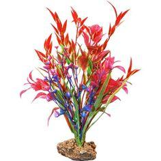 Sporn Aquatics 7 inch Red/Pink/Blue Standing Plant, Multicolor
