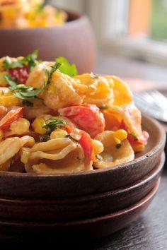 30 Minute Corn and Tomato Pasta *sub vegan cream cheeze