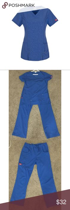 Dickies Xtreme stretch scrubs ✨NEW LISTING✨ Contemporary fit with princess seams for added shape. Embossed twill, 75% polyester, 21% rayon, 4% spandex. comfort, functionality and style all-day. Clean and no stained. Size XS (for top and pants). Pants it's altered , I am 5'3. Please let me know if there are any questions. Royal blue. Some of photos of the blue is from the flash. No fading of the scrubs. Dickies Tops