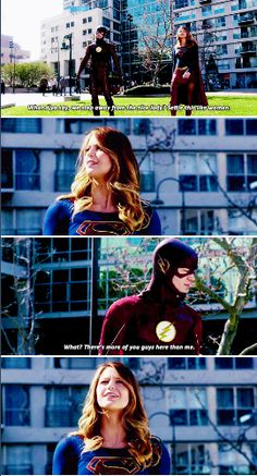 """#supergirl #1x18 """"What do you say, step away from the nice lady and we'll settle this like woman."""" """"What there's more of you here than me."""""""